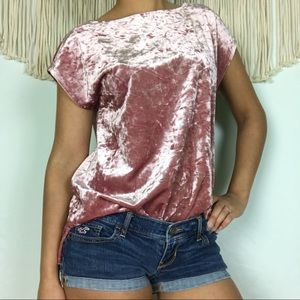 Vince Camuto | Light Pink Crushed Velvet Top, XS